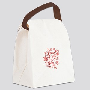 Peace, Love, Joy Canvas Lunch Bag