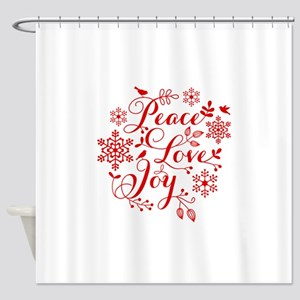 Peace, Love, Joy Shower Curtain