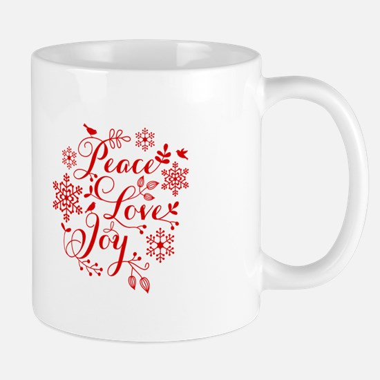 Peace, Love, Joy Mugs