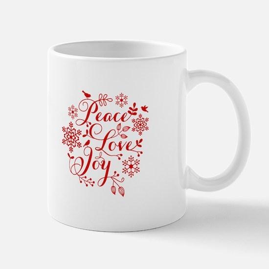 Peace, Love, Joy Mugs
