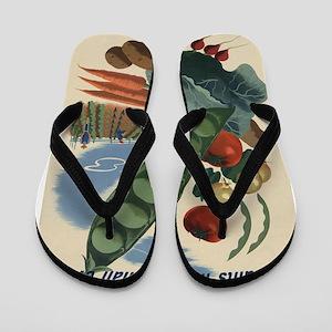 world war 2 poser art Flip Flops
