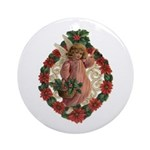 Poinsettia Angel Ornament (round)