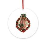 Poinsettia Angel Ornament (round)