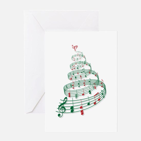 Music Christmas tree Greeting Cards