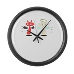 Angel Meets Devil Large Wall Clock