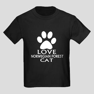 Love Norwegian Forest Cat Cat De Kids Dark T-Shirt