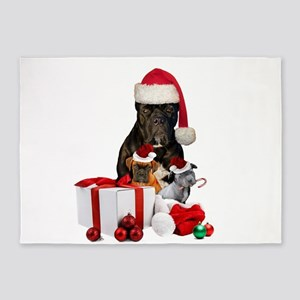 Christmas Cane Corso 5'x7'Area Rug