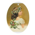 Holly Girl Ornament (Oval)
