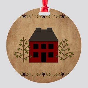 Primitive House Round Ornament