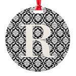 Personalizable Initial Black Damask Ornament