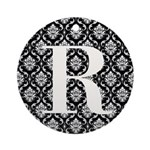 Personalizable Initial Black Damask Ornament (Roun