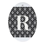 Personalizable Initial Black Damask Ornament (Oval