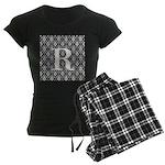 Personalizable Initial Black Damask Pajamas