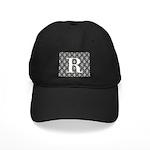Personalizable Initial Black Damask Baseball Hat