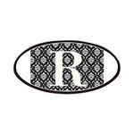 Personalizable Initial Black Damask Patches