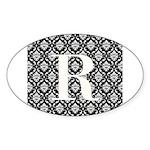 Personalizable Initial Black Damask Sticker