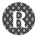 Personalizable Initial Black Damask Round Car Magn