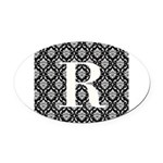 Personalizable Initial Black Damask Oval Car Magne