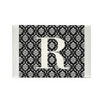 Personalizable Initial Black Damask Magnets