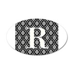 Personalizable Initial Black Damask Wall Decal