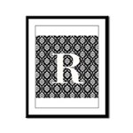 Personalizable Initial Black Damask Framed Panel P
