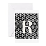 Personalizable Initial Black Damask Greeting Cards