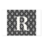Personalizable Initial Black Damask Postcards (Pac