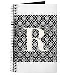 Personalizable Initial Black Damask Journal