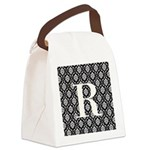 Personalizable Initial Black Damask Canvas Lunch B