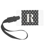 Personalizable Initial Black Damask Luggage Tag