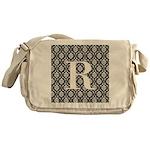 Personalizable Initial Black Damask Messenger Bag