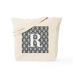Personalizable Initial Black Damask Tote Bag