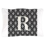 Personalizable Initial Black Damask Pillow Case
