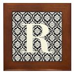 Personalizable Initial Black Damask Framed Tile