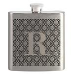 Personalizable Initial Black Damask Flask