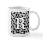 Personalizable Initial Black Damask Mugs
