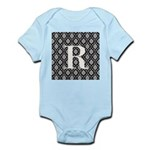 Personalizable Initial Black Damask Body Suit