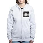 Personalizable Initial Black Damask Zip Hoodie