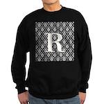 Personalizable Initial Black Damask Sweatshirt