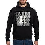 Personalizable Initial Black Damask Hoodie