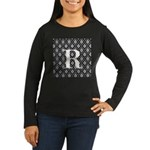 Personalizable Initial Black Damask Long Sleeve T-