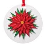 Poinsettia Round Ornament