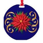 Poinsettia On Blue Round Ornament