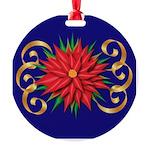 Poinsettia On Blue Round Ornament