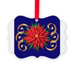 Poinsettia on Blue Ornament