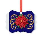 Poinsettia on Blue Ornament