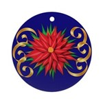 Poinsettia On Blue Ornament (round)