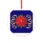 Poinsettia On Blue Ornament (round)