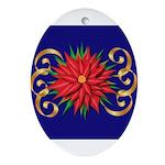 Poinsettia on Blue Ornament (Oval)