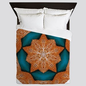 Coral Starfish Wreath with Turquoise C Queen Duvet